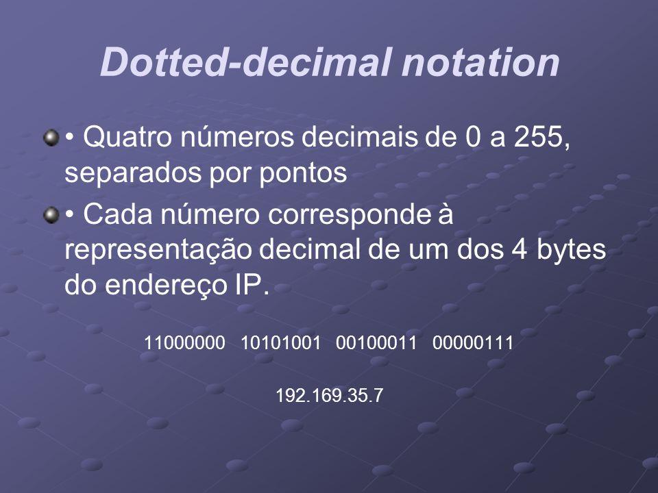 Dotted-decimal notation Quatro números decimais de 0 a 255, separados por pontos Cada número corresponde à representação decimal de um dos 4 bytes do