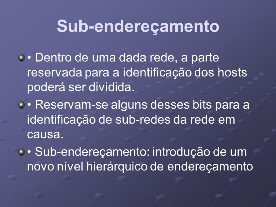 Sub-endereçamento Dentro de uma dada rede, a parte reservada para a identificação dos hosts poderá ser dividida. Reservam-se alguns desses bits para a