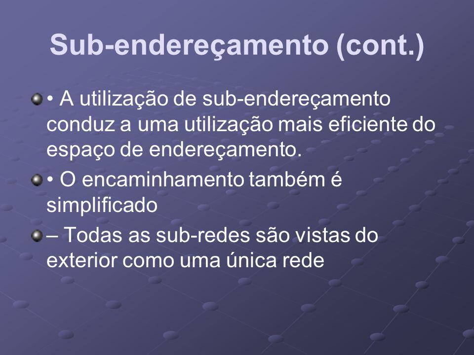 A utilização de sub-endereçamento conduz a uma utilização mais eficiente do espaço de endereçamento. O encaminhamento também é simplificado – Todas as