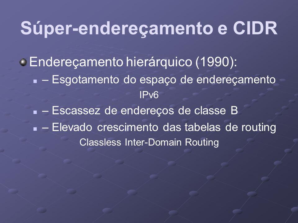 Súper-endereçamento e CIDR Endereçamento hierárquico (1990): – Esgotamento do espaço de endereçamento IPv6 – Escassez de endereços de classe B – Eleva