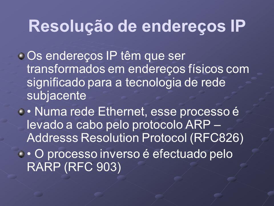 Resolução de endereços IP Os endereços IP têm que ser transformados em endereços físicos com significado para a tecnologia de rede subjacente Numa red