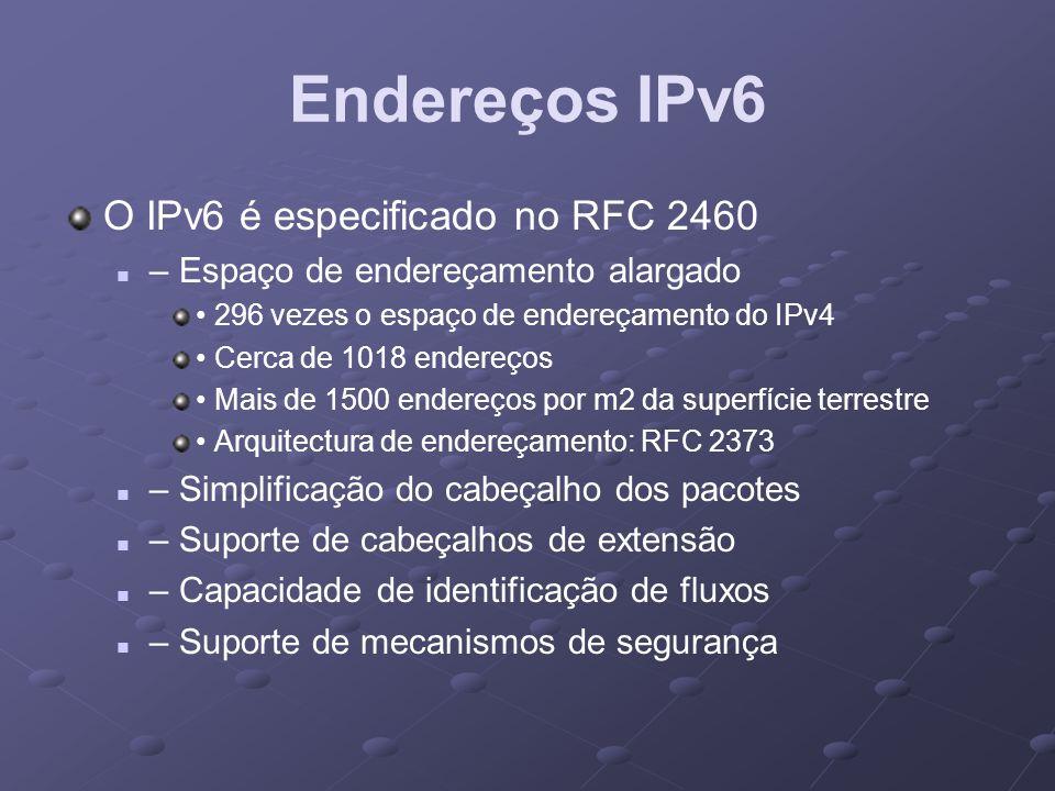 Endereços IPv6 O IPv6 é especificado no RFC 2460 – Espaço de endereçamento alargado 296 vezes o espaço de endereçamento do IPv4 Cerca de 1018 endereço