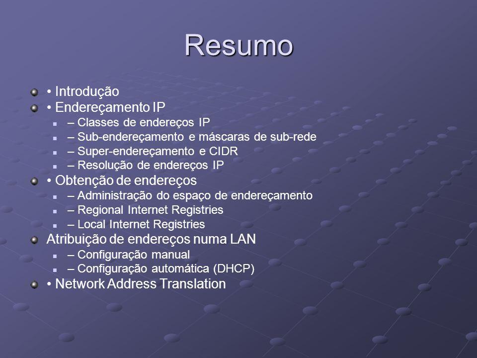 Resumo Introdução Endereçamento IP – Classes de endereços IP – Sub-endereçamento e máscaras de sub-rede – Super-endereçamento e CIDR – Resolução de en