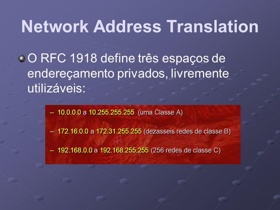O RFC 1918 define três espaços de endereçamento privados, livremente utilizáveis: