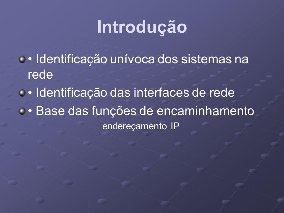 Introdução Identificação unívoca dos sistemas na rede Identificação das interfaces de rede Base das funções de encaminhamento endereçamento IP