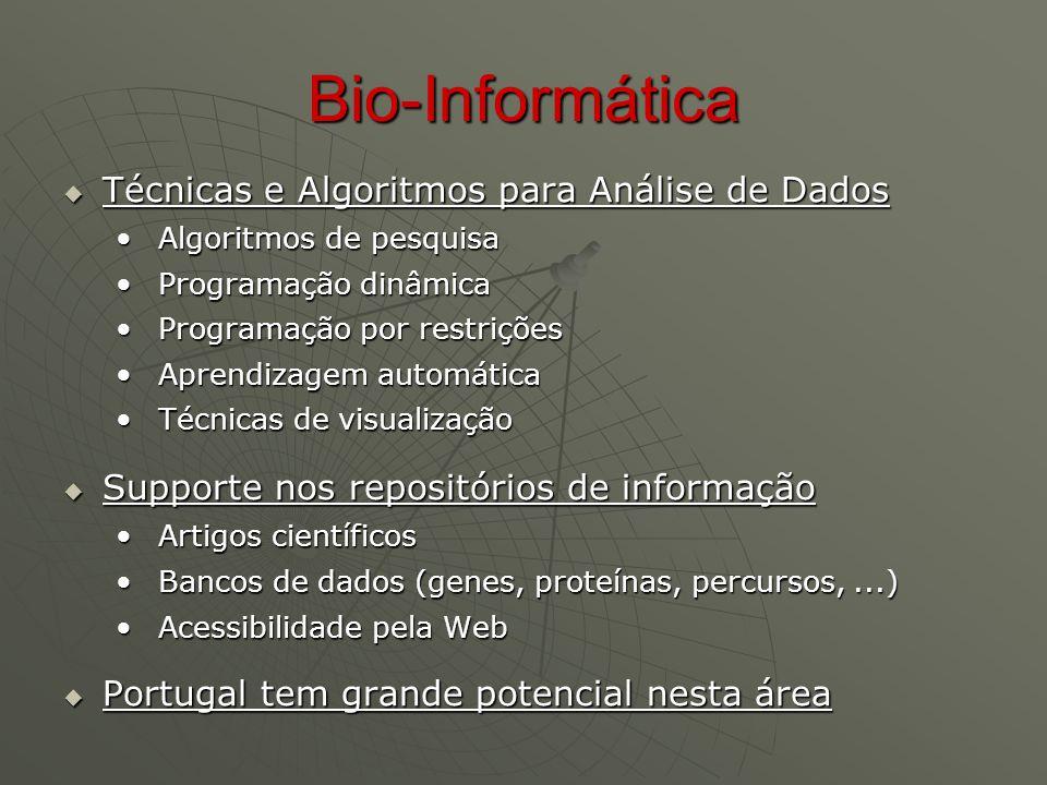 Bio-Informática  Técnicas e Algoritmos para Análise de Dados Algoritmos de pesquisa Algoritmos de pesquisa Programação dinâmica Programação dinâmica Programação por restrições Programação por restrições Aprendizagem automática Aprendizagem automática Técnicas de visualização Técnicas de visualização  Supporte nos repositórios de informação Artigos científicos Artigos científicos Bancos de dados (genes, proteínas, percursos,...) Bancos de dados (genes, proteínas, percursos,...) Acessibilidade pela Web Acessibilidade pela Web  Portugal tem grande potencial nesta área