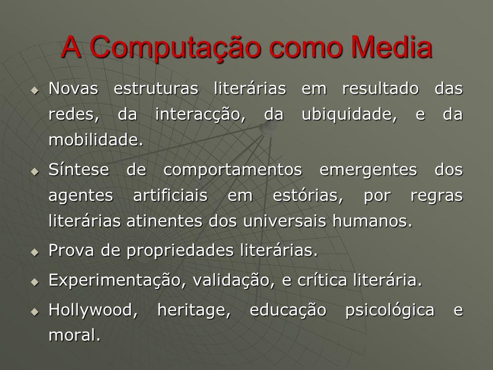 A Computação como Media  Novas estruturas literárias em resultado das redes, da interacção, da ubiquidade, e da mobilidade.