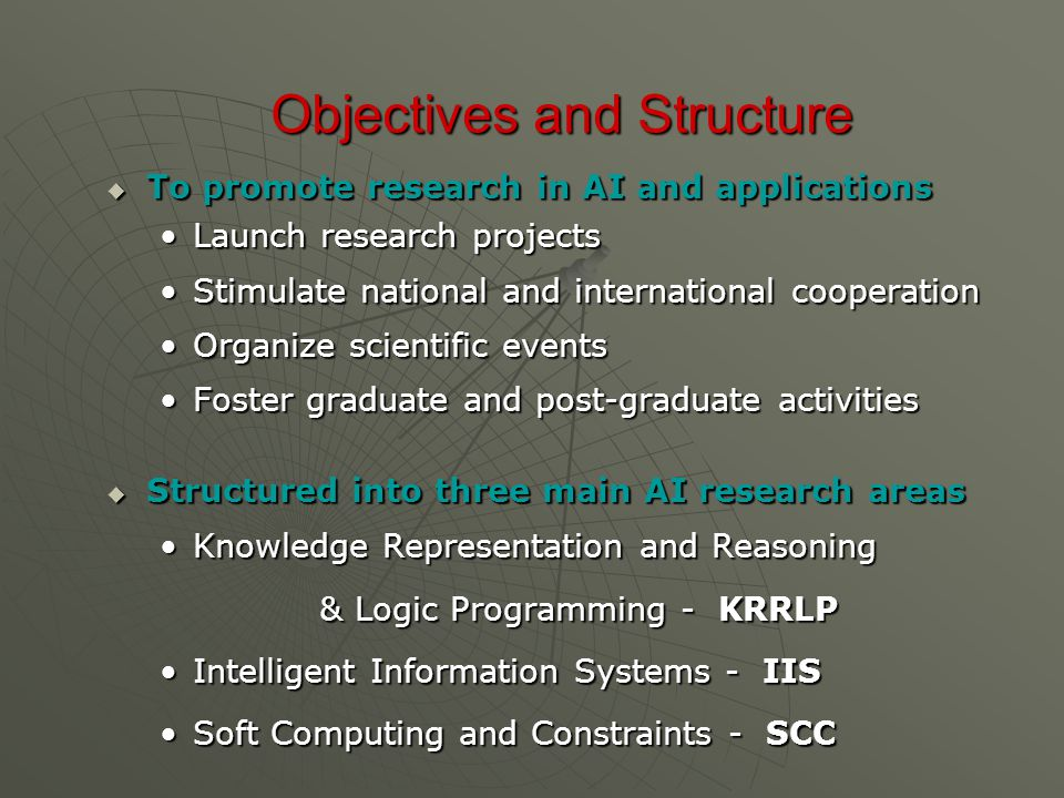 Objectives and Structure  To promote research in AI and applications Launch research projectsLaunch research projects Stimulate national and internat