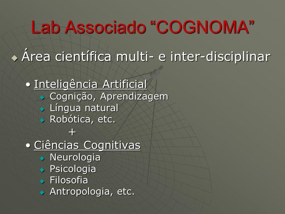 Lab Associado COGNOMA  Área científica multi- e inter-disciplinar Inteligência ArtificialInteligência Artificial  Cognição, Aprendizagem  Língua natural  Robótica, etc.