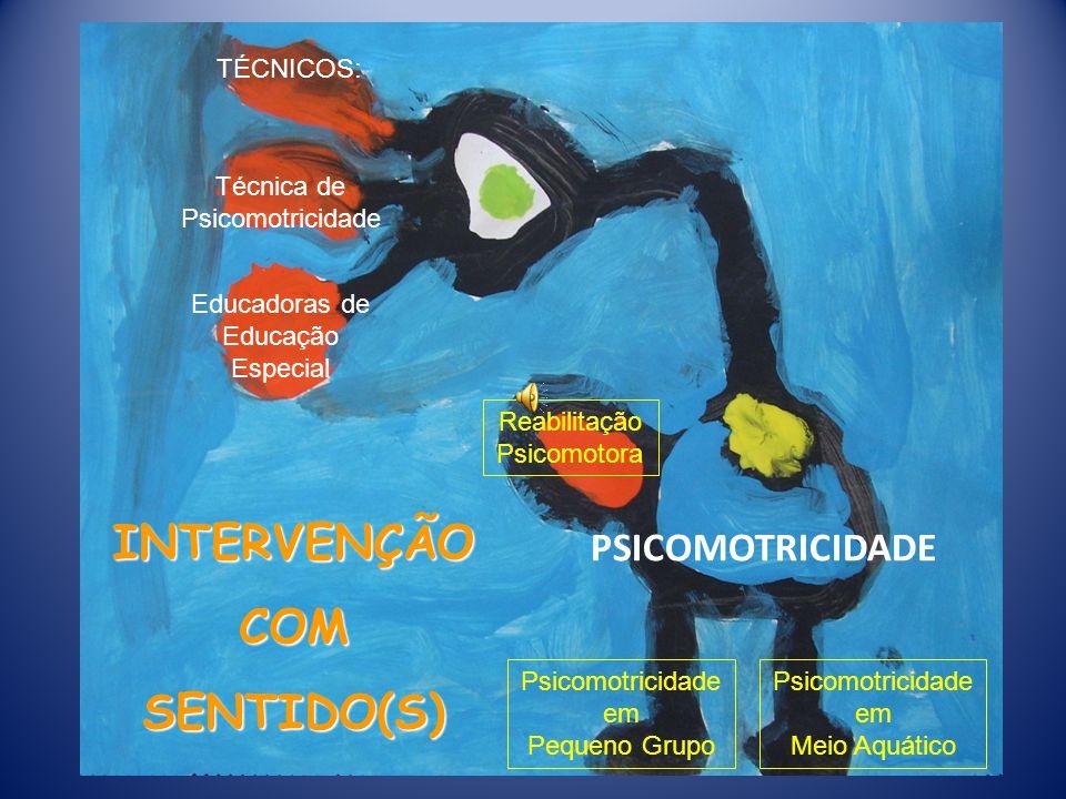 INTERVENÇÃO COM SENTIDO(S) PSICOMOTRICIDADE Técnica de Psicomotricidade Educadoras de Educação Especial TÉCNICOS: Reabilitação Psicomotora Psicomotricidade em Pequeno Grupo Psicomotricidade em Meio Aquático