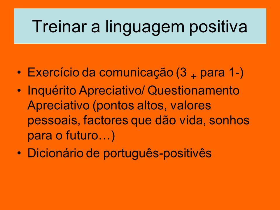 Treinar a linguagem positiva Exercício da comunicação (3 + para 1-) Inquérito Apreciativo/ Questionamento Apreciativo (pontos altos, valores pessoais,