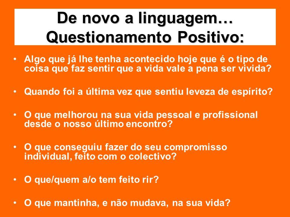 Treinar a linguagem positiva Exercício da comunicação (3 + para 1-) Inquérito Apreciativo/ Questionamento Apreciativo (pontos altos, valores pessoais, factores que dão vida, sonhos para o futuro…) Dicionário de português-positivês