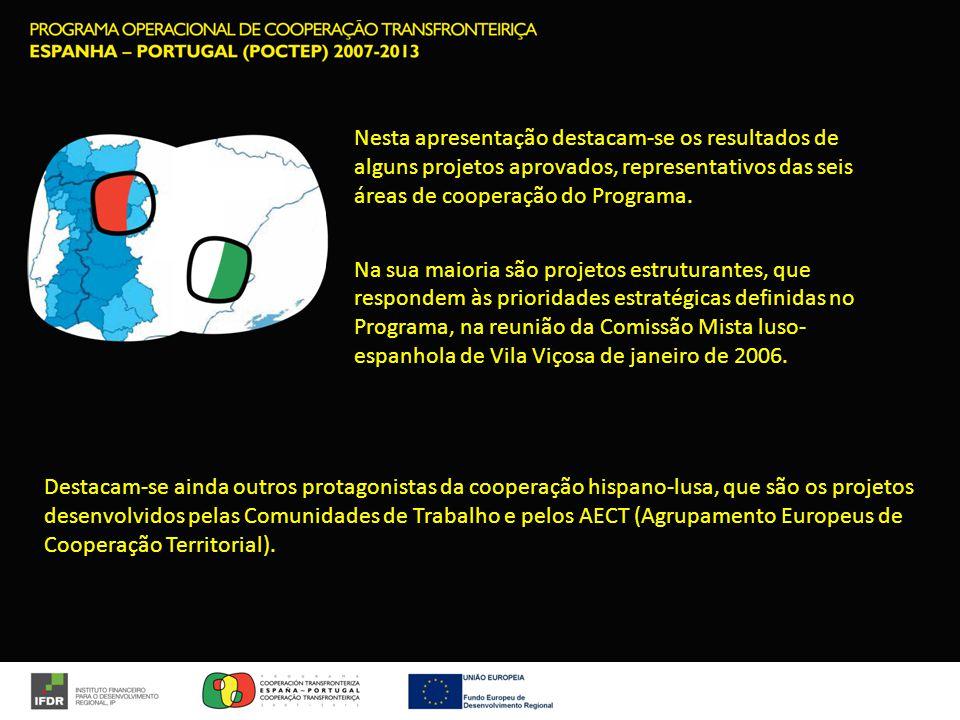 Nesta apresentação destacam-se os resultados de alguns projetos aprovados, representativos das seis áreas de cooperação do Programa.
