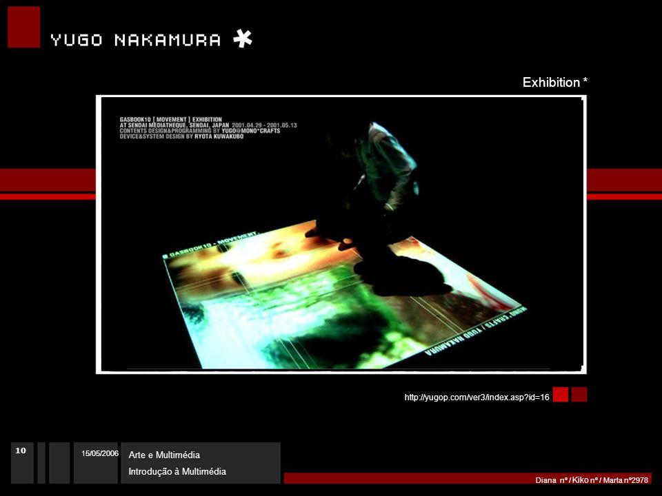 15/05/2006 Arte e Multimédia Introdução à Multimédia Diana nº / Kiko nº / Marta nº2978 http://yugop.com/ver3/index.asp id=16 Exhibition * 10