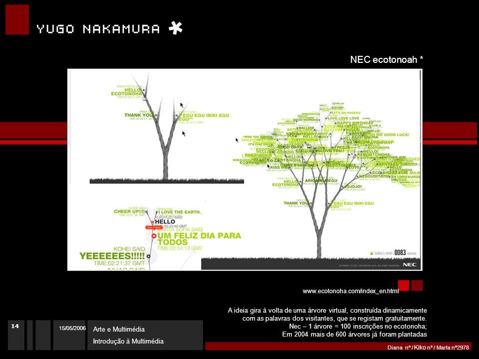 15/05/2006 Arte e Multimédia Introdução à Multimédia Diana nº / Kiko nº / Marta nº2978 http://yugop.com/ver3/index.asp id=16 Intentionallies * www.ecotonoha.com/index_en.html NEC ecotonoah * A ideia gira à volta de uma árvore virtual, construída dinamicamente com as palavras dos visitantes, que se registam gratuitamente.