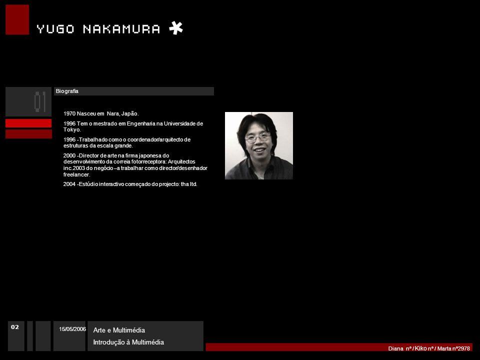15/05/2006 Arte e Multimédia Introdução à Multimédia Diana nº / Kiko nº / Marta nº2978 02 1970 Nasceu em Nara, Japão.