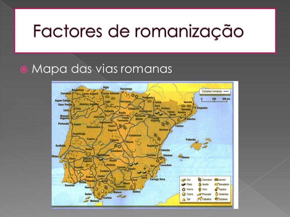  Mapa das vias romanas