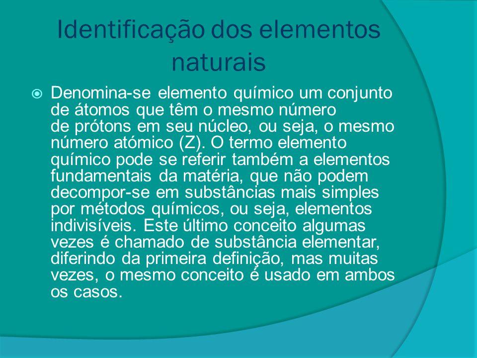 Identificação dos elementos sintéticos  São os elementos químicos cujos átomos são produzidos artificialmente.