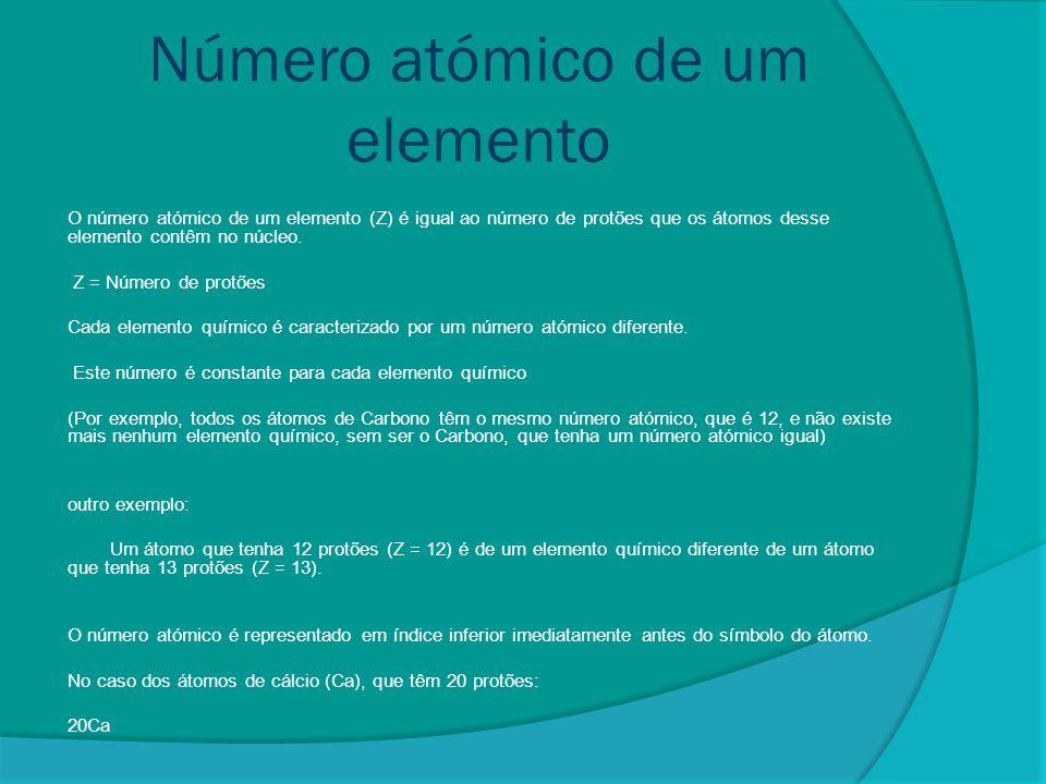 Número de massa de um elemento O número de massa, A (ou m em espectroscopia de massa) corresponde ao número total de nucleões (protões e neutrões) num núcleo atómico.protõesneutrões O termo número de massa foi introduzido durante os primeiros anos do século XX.