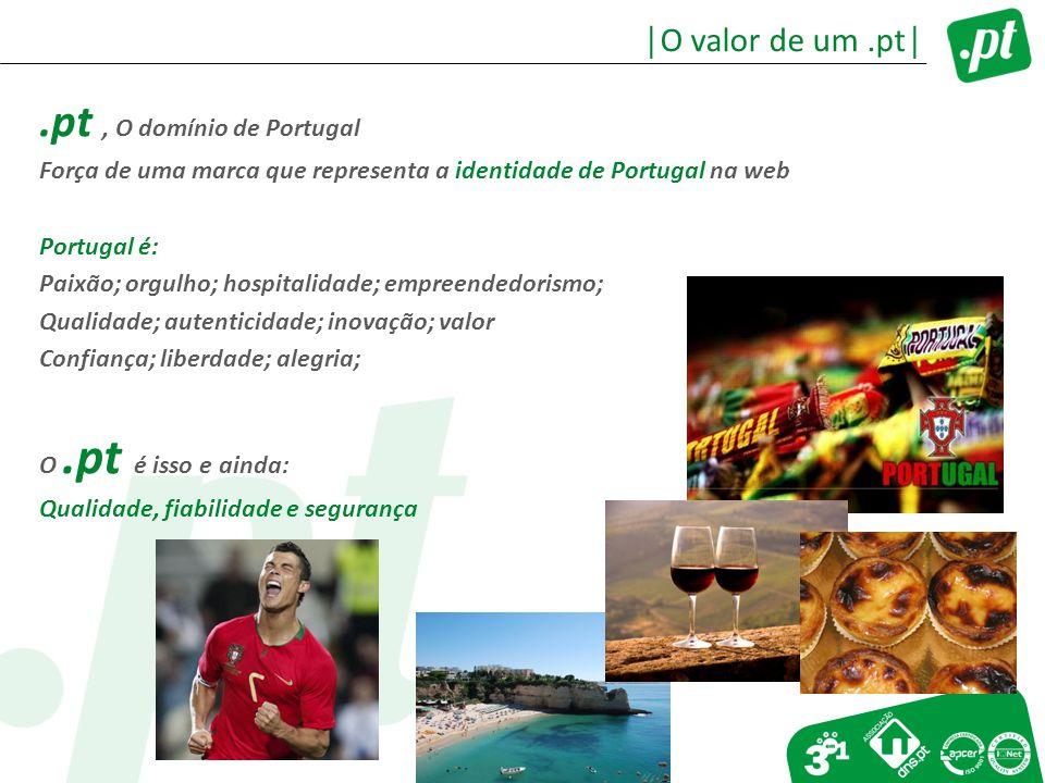 .pt, O domínio de Portugal Força de uma marca que representa a identidade de Portugal na web Portugal é: Paixão; orgulho; hospitalidade; empreendedorismo; Qualidade; autenticidade; inovação; valor Confiança; liberdade; alegria; O.pt é isso e ainda: Qualidade, fiabilidade e segurança │O valor de um.pt│