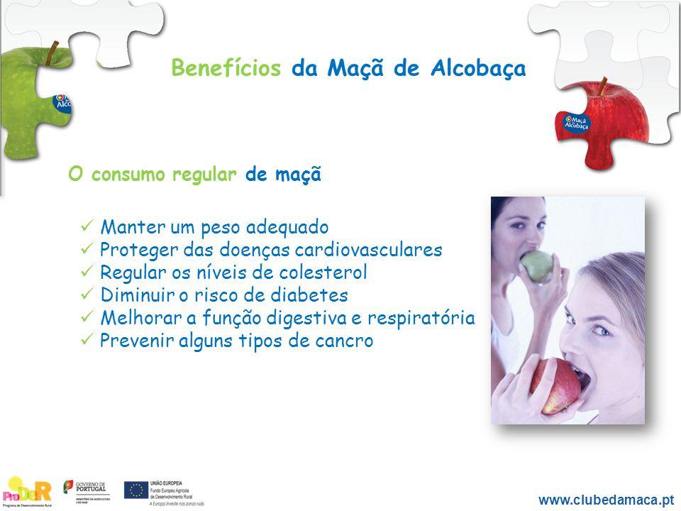 Benefícios da Maçã de Alcobaça www.clubedamaca.pt Manter um peso adequado Proteger das doenças cardiovasculares Regular os níveis de colesterol Diminu
