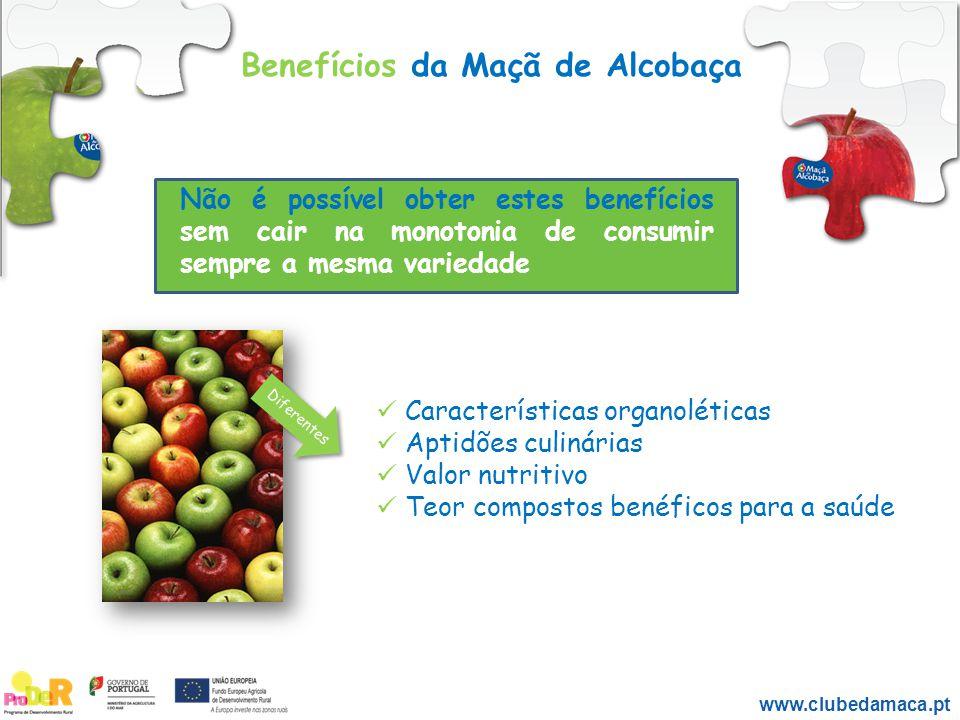 Benefícios da Maçã de Alcobaça www.clubedamaca.pt Não é possível obter estes benefícios sem cair na monotonia de consumir sempre a mesma variedade Car