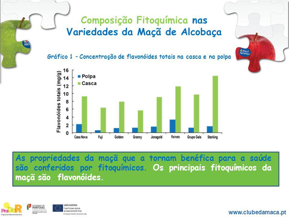 Composição Fitoquímica nas Variedades da Maçã de Alcobaça As propriedades da maçã que a tornam benéfica para a saúde são conferidos por fitoquímicos.