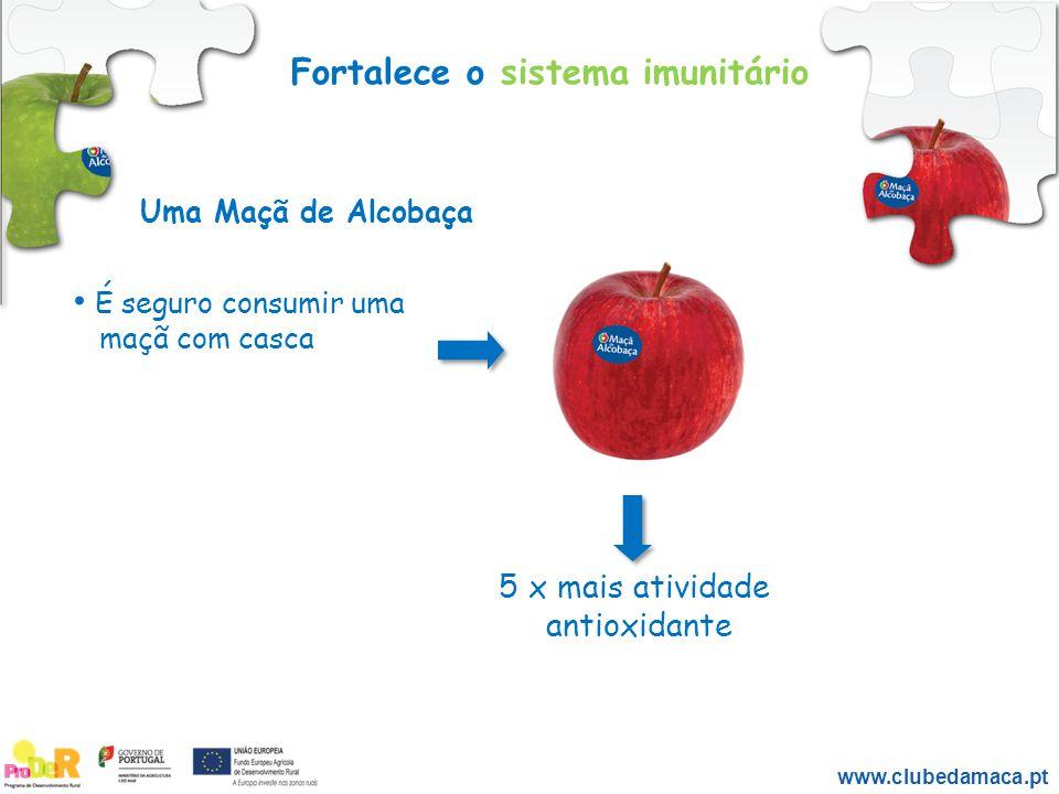Fortalece o sistema imunitário É seguro consumir uma maçã com casca 5 x mais atividade antioxidante Uma Maçã de Alcobaça www.clubedamaca.pt