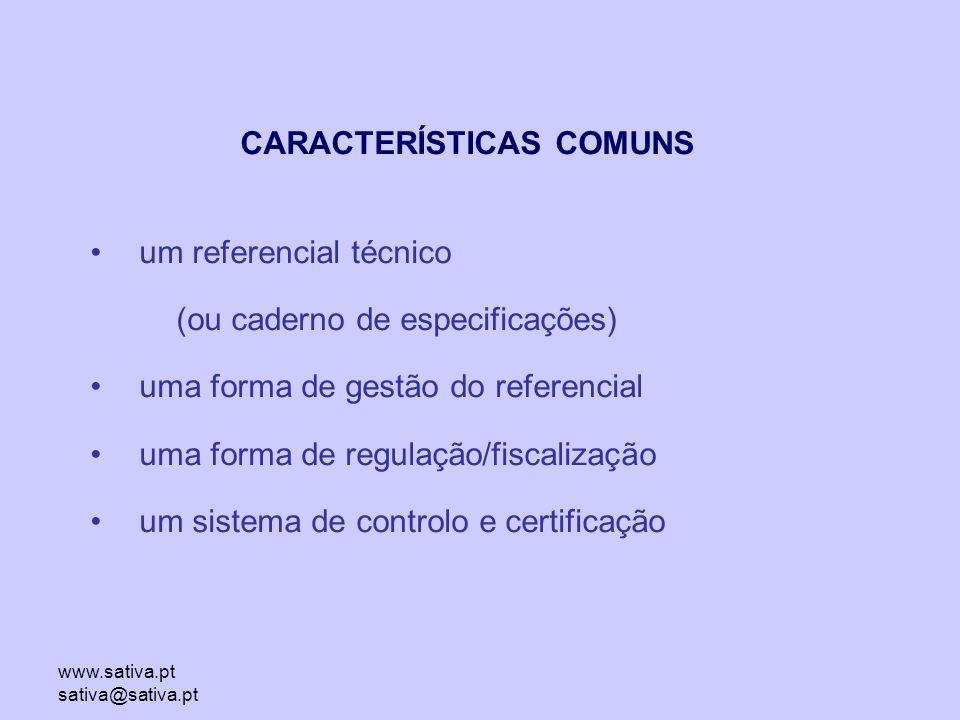 www.sativa.pt sativa@sativa.pt CARACTERÍSTICAS COMUNS um referencial técnico (ou caderno de especificações) uma forma de gestão do referencial uma forma de regulação/fiscalização um sistema de controlo e certificação