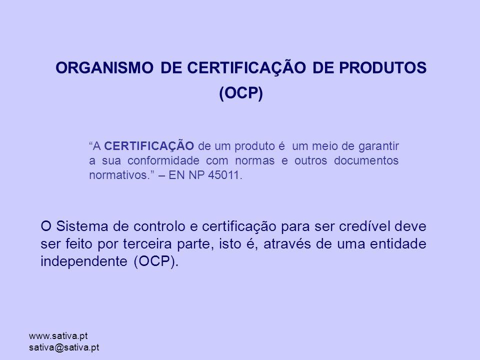 www.sativa.pt sativa@sativa.pt ORGANISMO DE CERTIFICAÇÃO DE PRODUTOS (OCP) A CERTIFICAÇÃO de um produto é um meio de garantir a sua conformidade com normas e outros documentos normativos. – EN NP 45011.