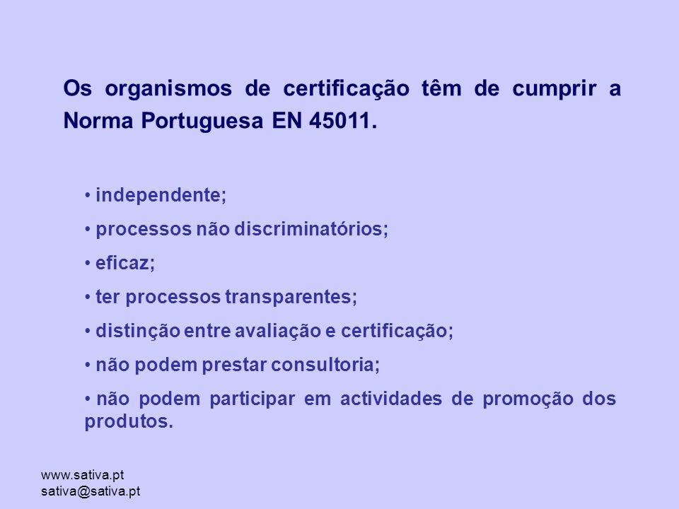 www.sativa.pt sativa@sativa.pt Os organismos de certificação têm de cumprir a Norma Portuguesa EN 45011.