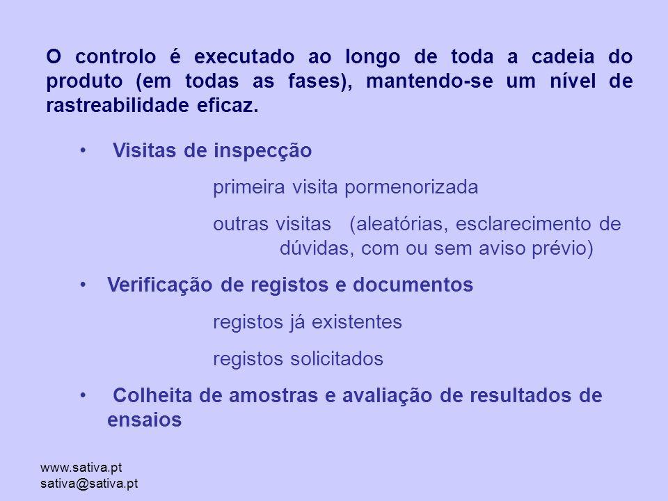 www.sativa.pt sativa@sativa.pt O controlo é executado ao longo de toda a cadeia do produto (em todas as fases), mantendo-se um nível de rastreabilidade eficaz.