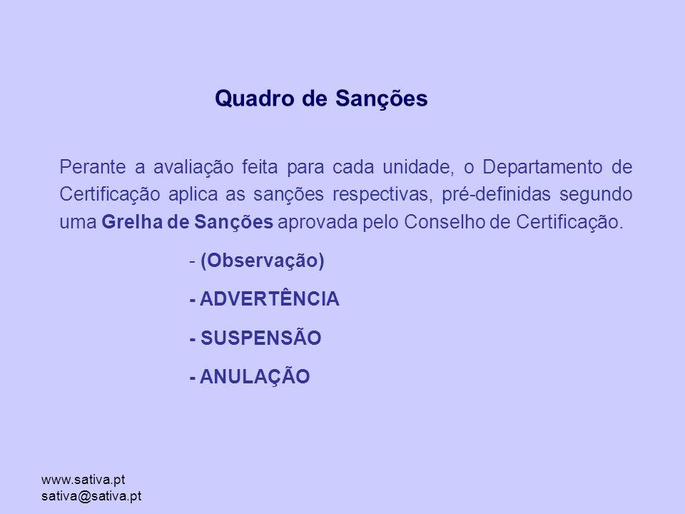www.sativa.pt sativa@sativa.pt Perante a avaliação feita para cada unidade, o Departamento de Certificação aplica as sanções respectivas, pré-definidas segundo uma Grelha de Sanções aprovada pelo Conselho de Certificação.