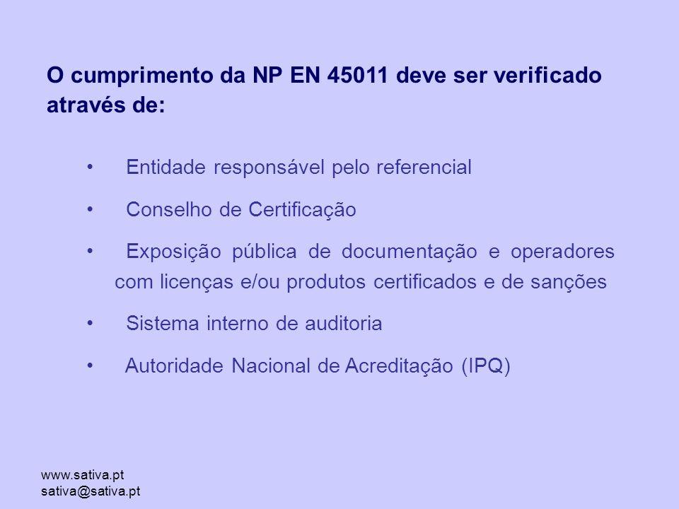 www.sativa.pt sativa@sativa.pt Entidade responsável pelo referencial Conselho de Certificação Exposição pública de documentação e operadores com licenças e/ou produtos certificados e de sanções Sistema interno de auditoria Autoridade Nacional de Acreditação (IPQ) O cumprimento da NP EN 45011 deve ser verificado através de: