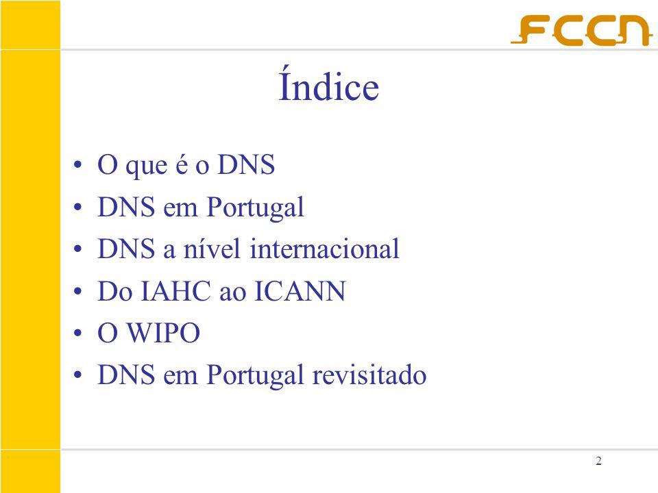 2 Índice O que é o DNS DNS em Portugal DNS a nível internacional Do IAHC ao ICANN O WIPO DNS em Portugal revisitado