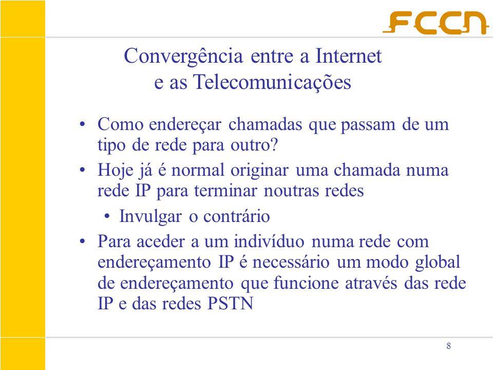 8 Convergência entre a Internet e as Telecomunicações Como endereçar chamadas que passam de um tipo de rede para outro? Hoje já é normal originar uma