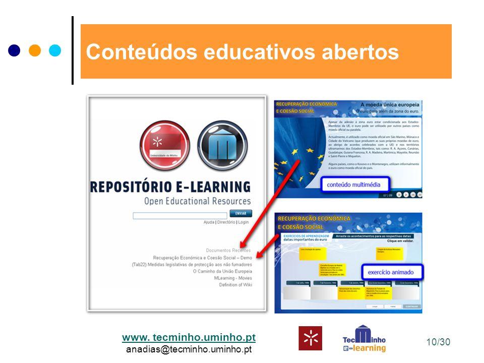www. tecminho.uminho.pt anadias@tecminho.uminho.pt Conteúdos educativos abertos 10/30