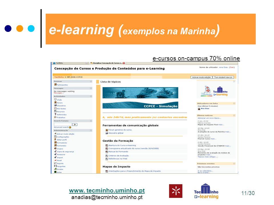 www. tecminho.uminho.pt anadias@tecminho.uminho.pt e-learning ( exemplos na Marinha ) e-cursos on-campus 70% online 11/30