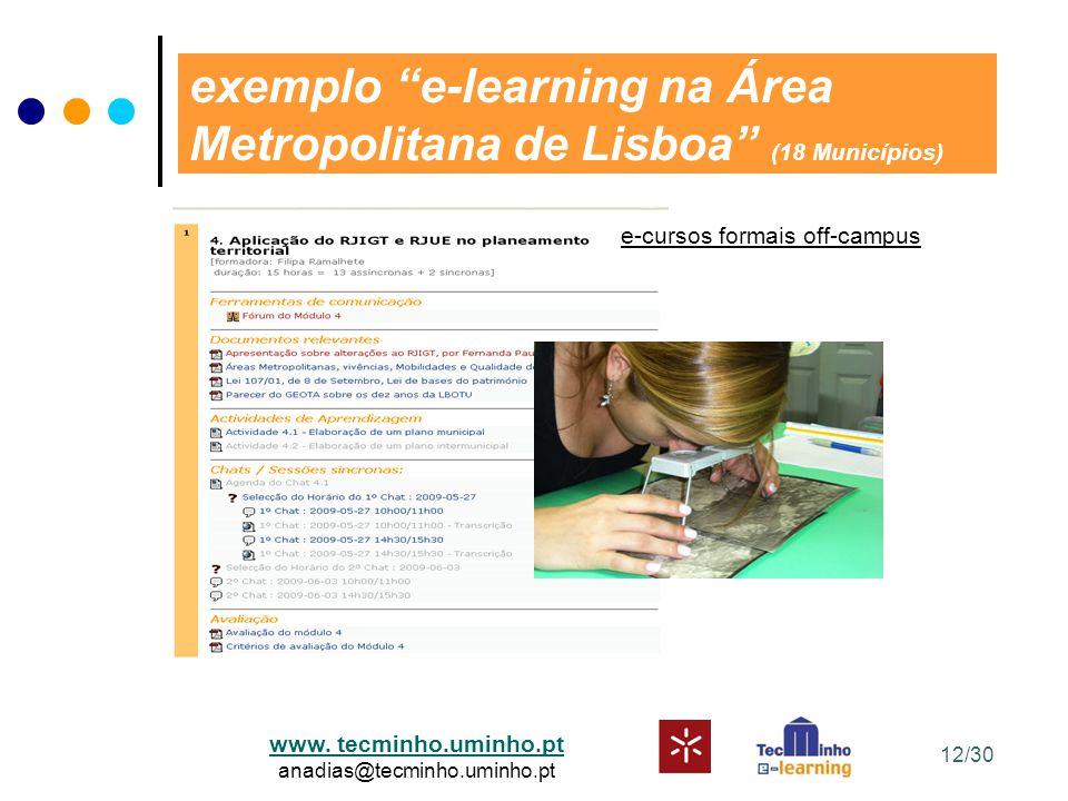 """www. tecminho.uminho.pt anadias@tecminho.uminho.pt exemplo """"e-learning na Área Metropolitana de Lisboa"""" (18 Municípios) e-cursos formais off-campus 12"""