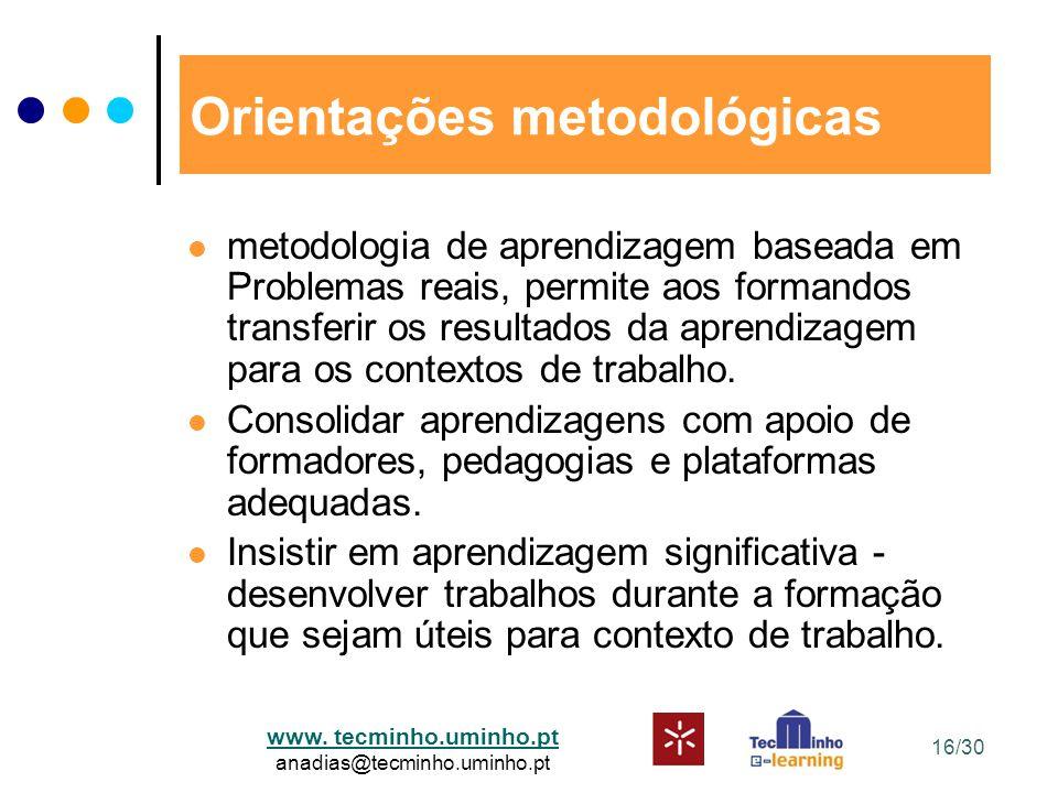 www. tecminho.uminho.pt anadias@tecminho.uminho.pt Orientações metodológicas metodologia de aprendizagem baseada em Problemas reais, permite aos forma