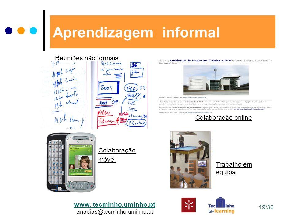 www. tecminho.uminho.pt anadias@tecminho.uminho.pt Aprendizagem informal Reuniões não formais Colaboração online Colaboração móvel Trabalho em equipa