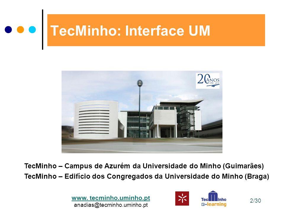 www. tecminho.uminho.pt anadias@tecminho.uminho.pt 2/30 TecMinho: Interface UM TecMinho – Campus de Azurém da Universidade do Minho (Guimarães) TecMin