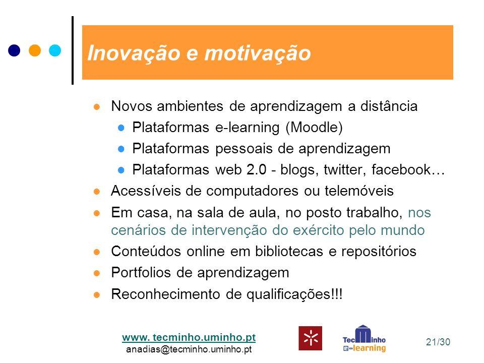 www. tecminho.uminho.pt anadias@tecminho.uminho.pt Inovação e motivação Novos ambientes de aprendizagem a distância Plataformas e-learning (Moodle) Pl