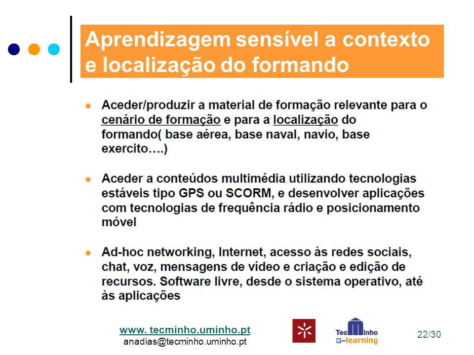 www. tecminho.uminho.pt anadias@tecminho.uminho.pt Aprendizagem sensível a contexto e localização do formando 22/30