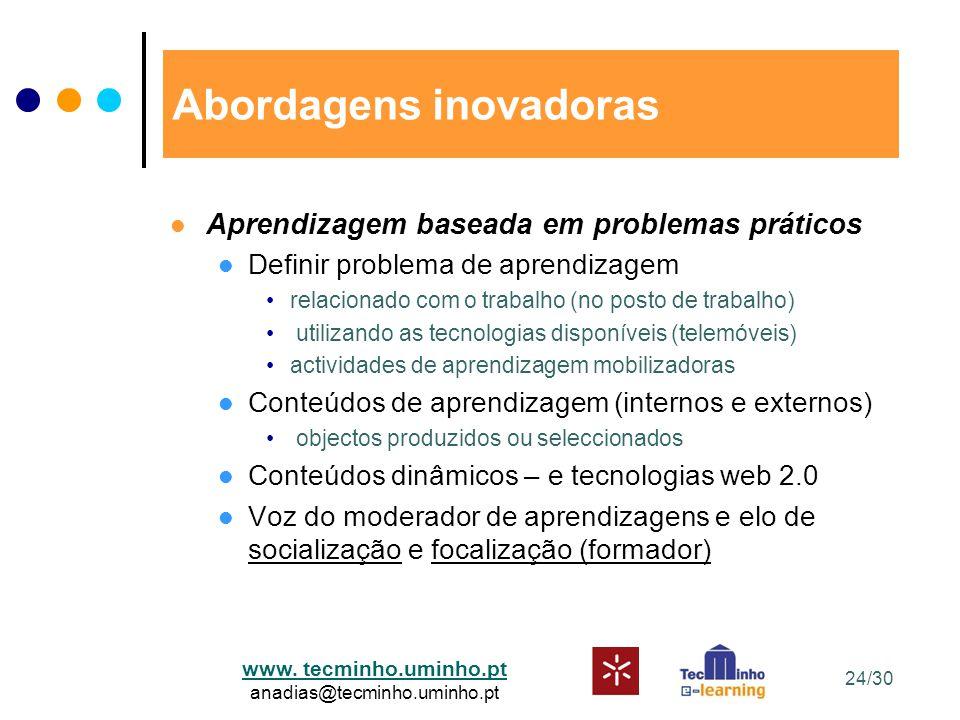 www. tecminho.uminho.pt anadias@tecminho.uminho.pt Abordagens inovadoras Aprendizagem baseada em problemas práticos Definir problema de aprendizagem r
