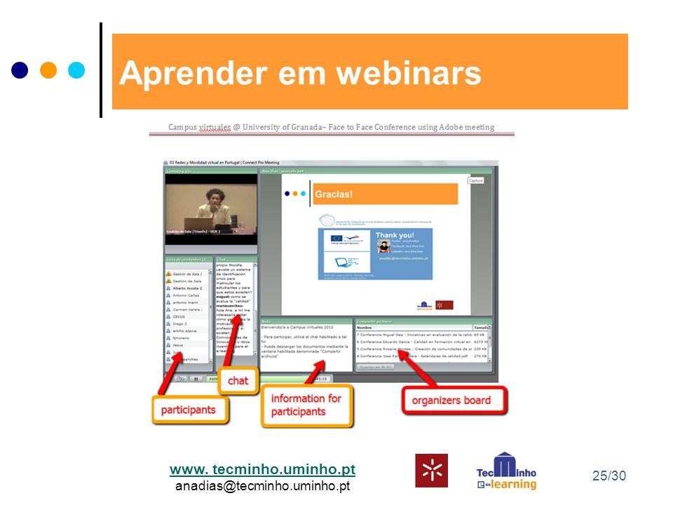 www. tecminho.uminho.pt anadias@tecminho.uminho.pt Aprender em webinars 25/30