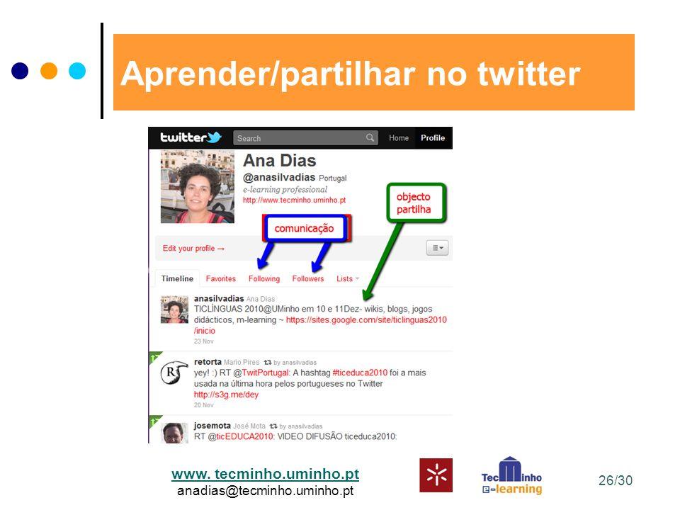 www. tecminho.uminho.pt anadias@tecminho.uminho.pt Aprender/partilhar no twitter 26/30