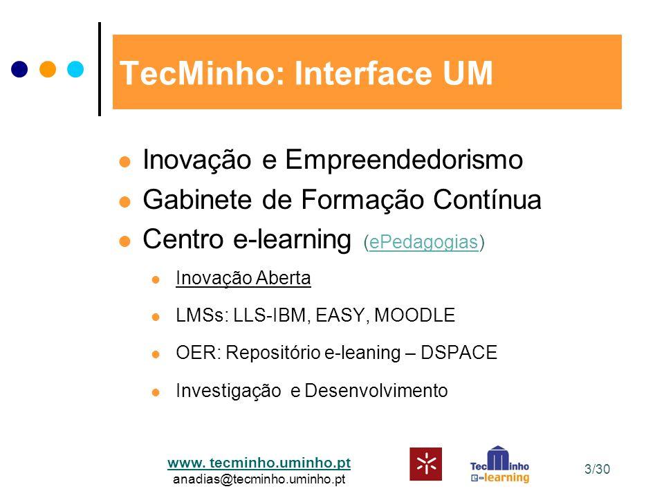 www. tecminho.uminho.pt anadias@tecminho.uminho.pt 3/30 TecMinho: Interface UM Inovação e Empreendedorismo Gabinete de Formação Contínua Centro e-lear