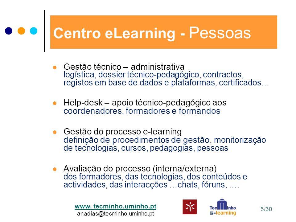 www. tecminho.uminho.pt anadias@tecminho.uminho.pt Centro eLearning - Pessoas Gestão técnico – administrativa logística, dossier técnico-pedagógico, c