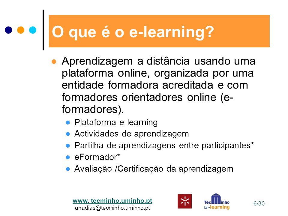 www. tecminho.uminho.pt anadias@tecminho.uminho.pt O que é o e-learning? Aprendizagem a distância usando uma plataforma online, organizada por uma ent